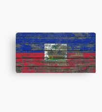 Flag of Haiti on Rough Wood Boards Effect Canvas Print