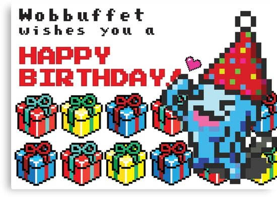 [Pokemon] 8Bit Wobuffet Birthday Edition by tuitachi