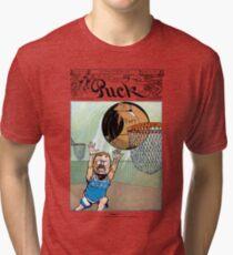 Teddy Roosevelt Dunks Taft Political Cartoon (Puck Magazine) Tri-blend T-Shirt