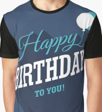 Blue Birthday Card Graphic T-Shirt
