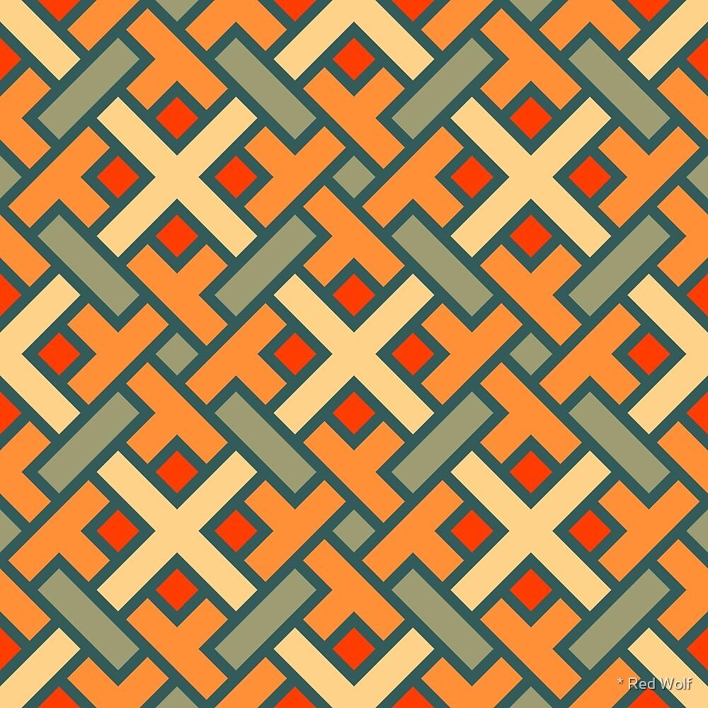 Geometric Pattern: Weave: Orange/Green by * Red Wolf