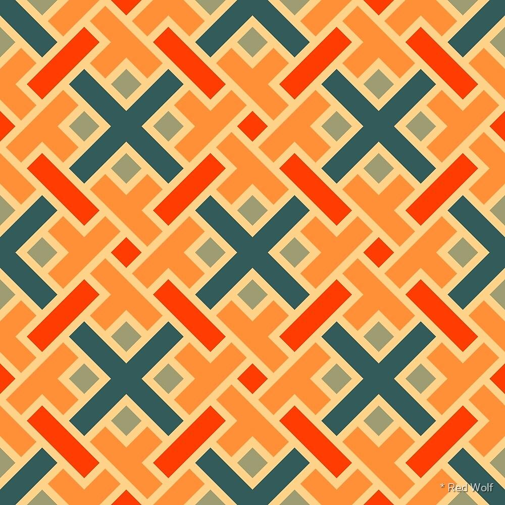 Geometric Pattern: Weave: Orange/Blue by * Red Wolf