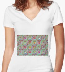 Colorful mosaic geometric background  Women's Fitted V-Neck T-Shirt