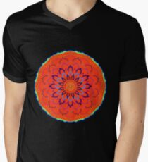 Electric Mandala Glowing Bright Electric Blue and Green in Red Stunning T-Shirt