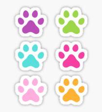 Colorful paw print stickers - purple, green, aqua blue, hot pink and orange Sticker