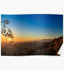 colorful autumn sunset in the italian countryside Poster
