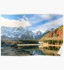 autumn sunrise at the alpine lake Poster