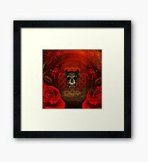 Creepy skull with roses, Framed Print
