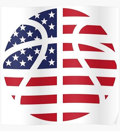 American Basketball Flag Poster