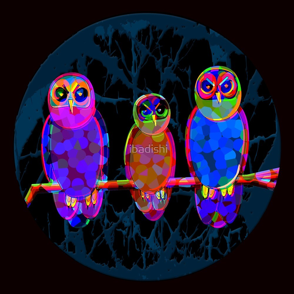 3 Colorful Owls at Night in Front of the Moon - Pop Art by ibadishi