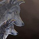 2 Wölfe /wolves Version1 von Doris Thomas