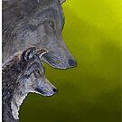 2 Wölfe /wolves Version4 von Doris Thomas