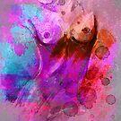 Akt - pink türkis von Rhea Silvia Will