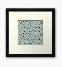 Neon pink black purple polka dots pattern Framed Print