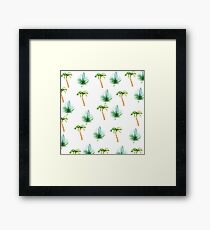 Hand painted green brown watercolor tropical pattern Framed Print
