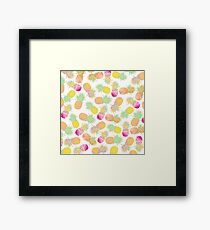 Tropical neon pink teal watercolor faux gold glitter pineapple Framed Print