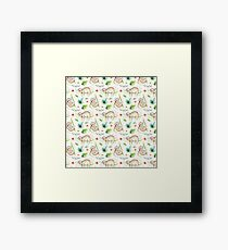 Modern hand painted green brown watercolor tropical floral sloth  Framed Print