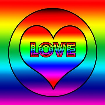 Psychedelic Rainbow Love Heart by grinningskull