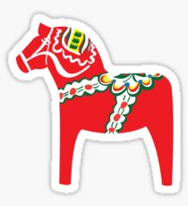 Röd Dalahäst - Rotes Dalapferd Sticker