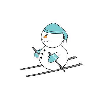Snowman Skiing Christmas Tree Santa Holidays Snow Skis by stevesemojis
