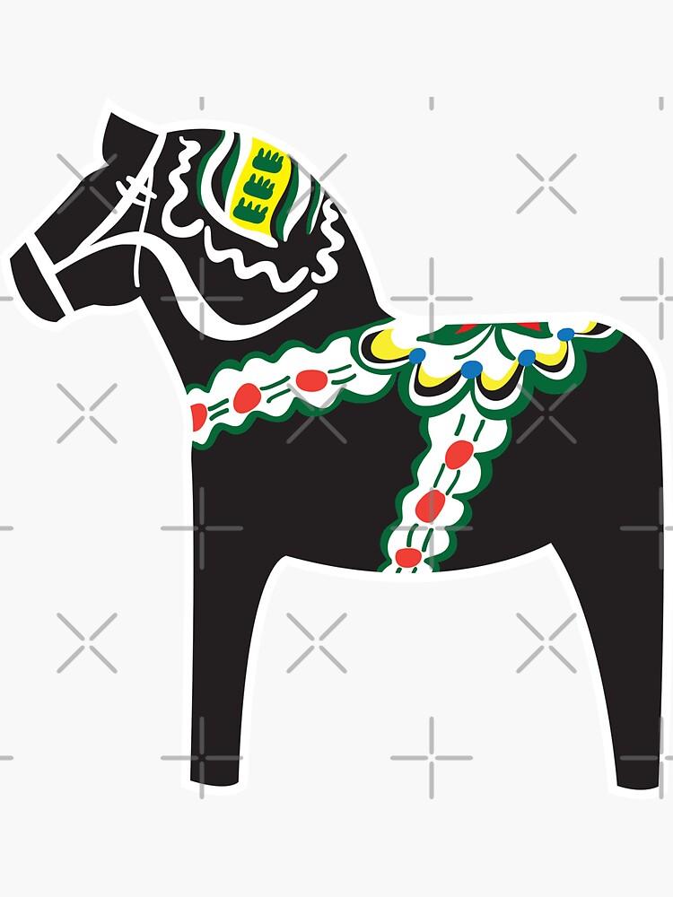 Svart Dalahäst - schwarzes Dalapferd von knappidesign