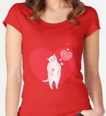 Valentine cat with red flower like a heart.  Women's Fitted Scoop T-Shirt