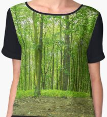 Forest trees background. Chiffon Top