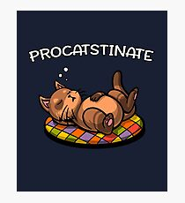 Procatstinate Cute Lazy Cat Funny Pun Joke Photographic Print