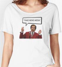 Fake News Media - Ron Burgundy, Anchorman, Trump Women's Relaxed Fit T-Shirt