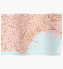 Naples map, Italy Poster