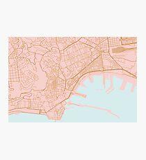 Naples map, Italy Photographic Print