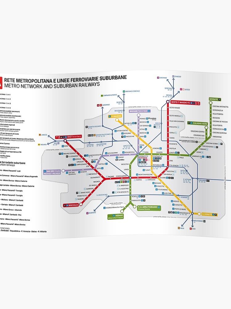 Milan Subway Map.Milan Subway The Metropolitana Di Milano Poster