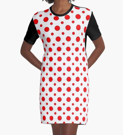Red Dots on White  Graphic T-Shirt Dress