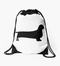 dachshund silhouette Drawstring Bag