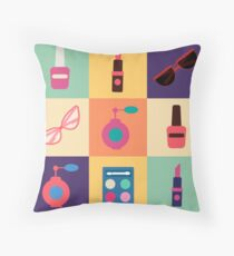 Cosmetics Set. Icons Set. Cosmetology. Fashion and Beauty. Perfume, Polish, Pomade. Female Beauty. Vector illustration. Flat Style Throw Pillow