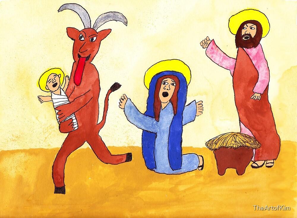 Krampus Stealing the Christ Child by TheArtofKim