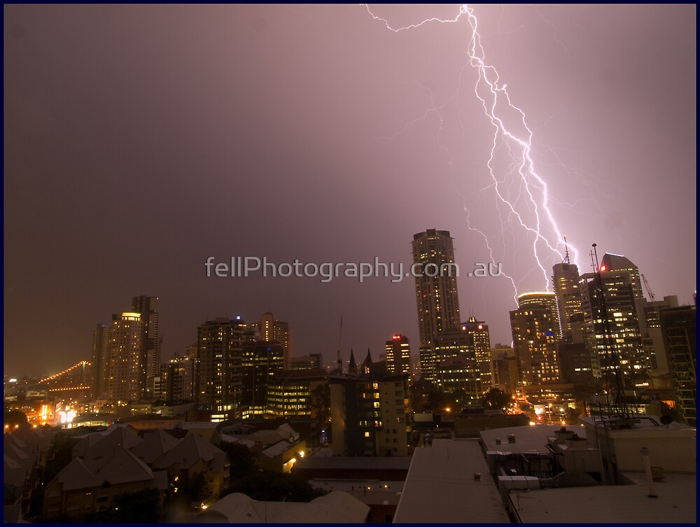 Brisbane under seige from another storm front by fellPhotography.com .au