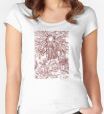 The Thing - Lines & Layers Deep Red Women's Fitted Scoop T-Shirt