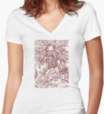 The Thing - Lines & Layers Deep Red Women's Fitted V-Neck T-Shirt
