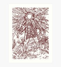 The Thing - Lines & Layers Deep Red Art Print