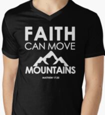 Faith Can Move Mountains Matthew 17:20 - Christian Gifts Men's V-Neck T-Shirt