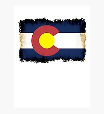 Colorado flag in Grunge Photographic Print