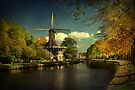 Autumn Glow on Dutch Windmill by AnnieSnel
