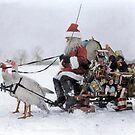 Santa Claus with Christmas toys on a sled drawn by white turkeys, 1909 by Marina Amaral