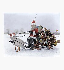Santa Claus with Christmas toys on a sled drawn by white turkeys, 1909 Photographic Print