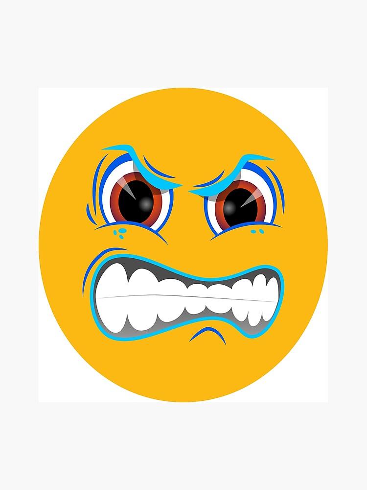 Visage En Colère Emoticon Emoticon Emoji Mad Design 006 Impression Photo