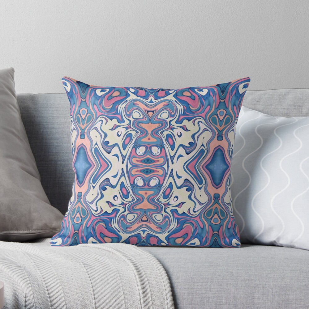 Colorful Chaotic Layers Throw Pillow