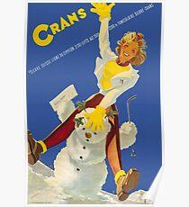 Crans, Suisse, Ski Reiseplakat Poster