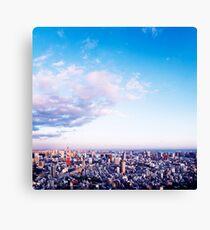 Tokyo tower in beautiful aerial scenery Tokyo city under vast blue sky art photo print Canvas Print