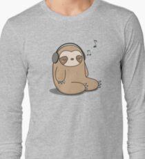 Kawaii Cute Sloth Listening To Music Long Sleeve T-Shirt